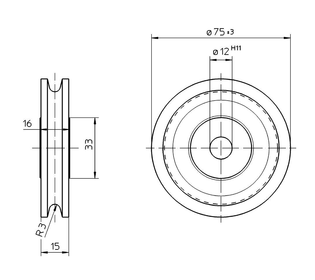pulley  sheave  u2013 ztw 5 0  u2013 grey gast iron  u2013 diameter   75