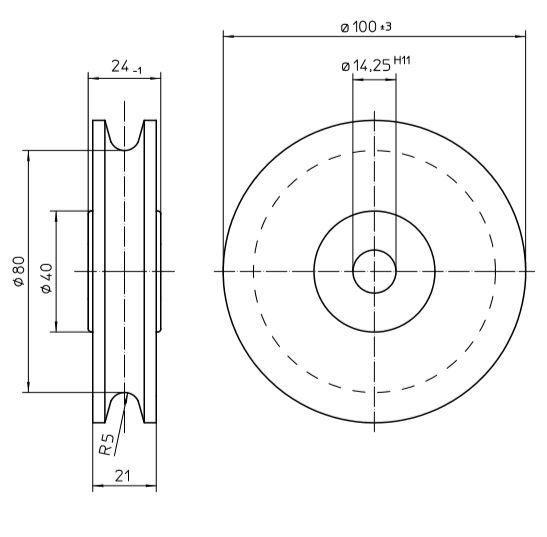 Pulley Sheave Steel Galvanised Diameter 100 Mm